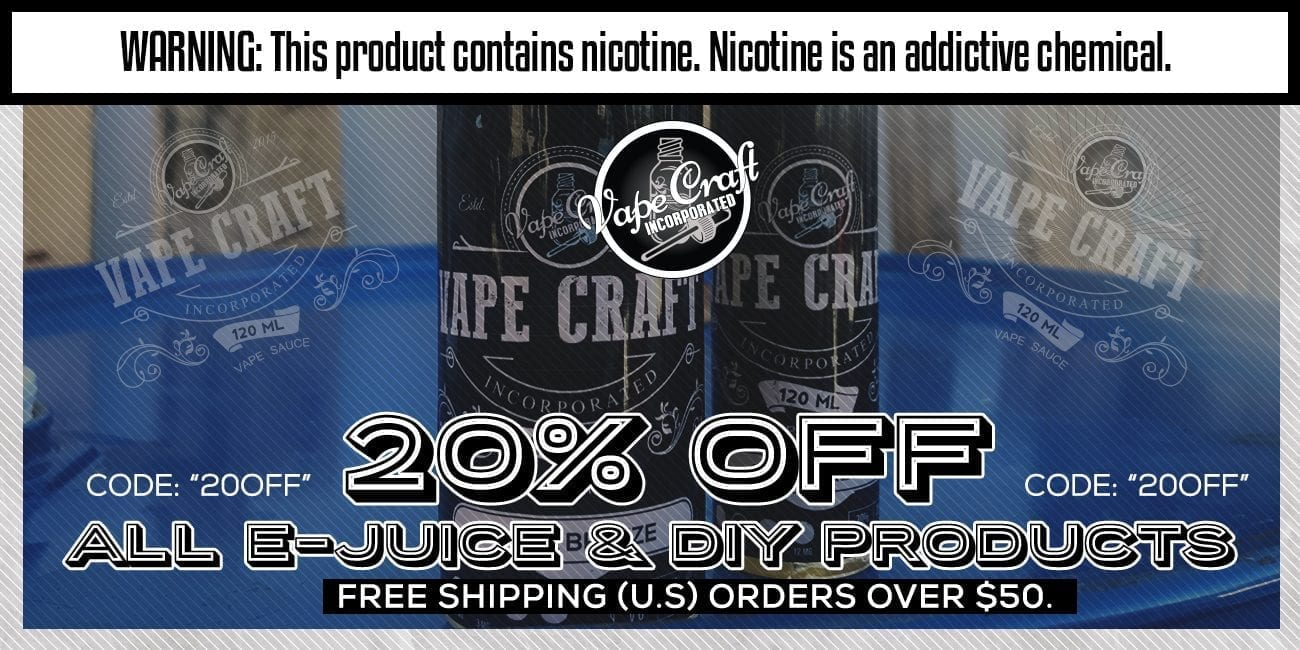 VapeCraft Sale! 20% Off All EJuice & DIY Products update