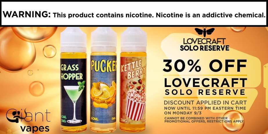 Lovecraft solo reserve e liquid sale save 30 off free for Vape craft coupon code