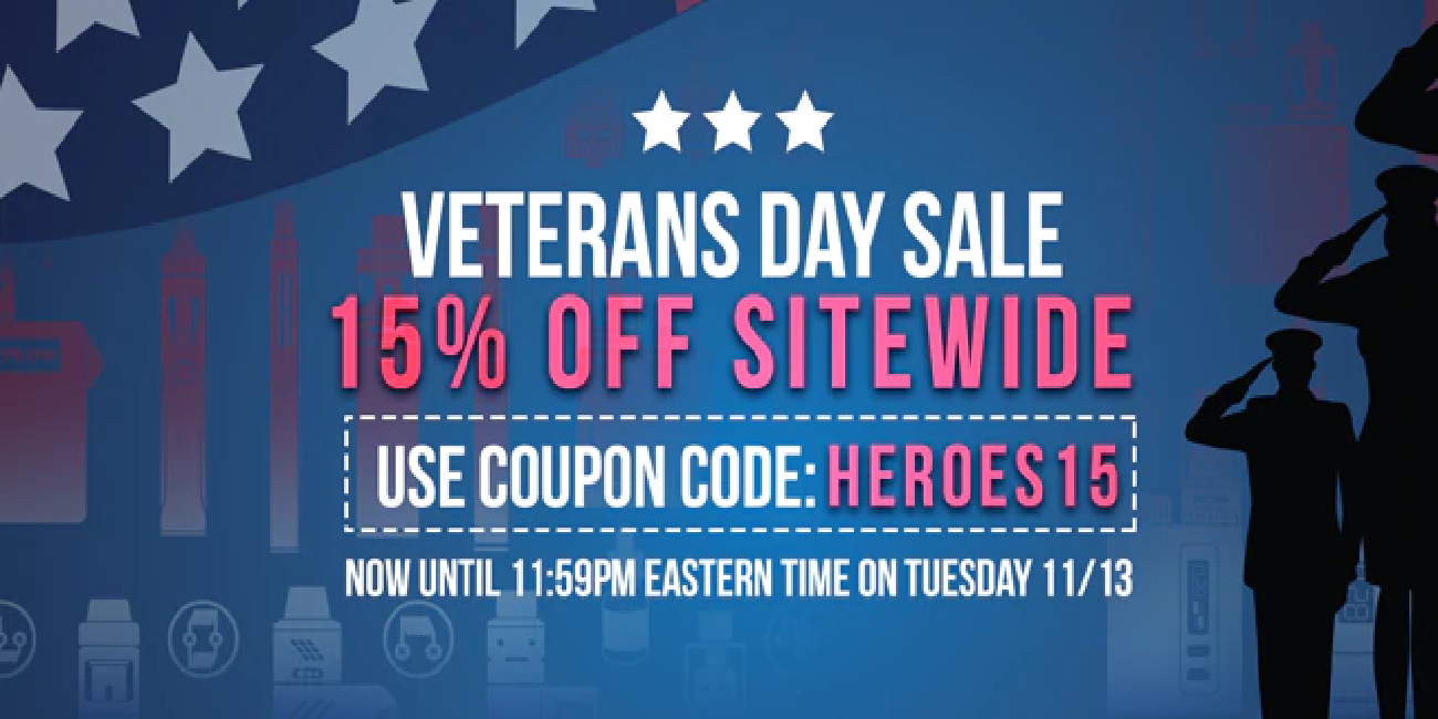 Giant Vapes Veterans Day Sale! Save 15% OFF Sitewide + FREE Shipping!