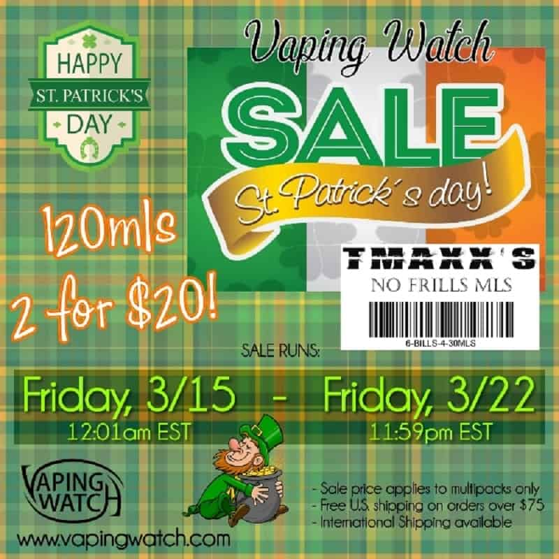 Vaping Watch St. Patricks Day Sale Popup